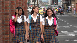 Female Students Walking Downtown Footage