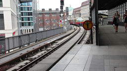 Train Pulls Into The Central Station at Bahnhof Friedrichstrasse in Berlin Footage