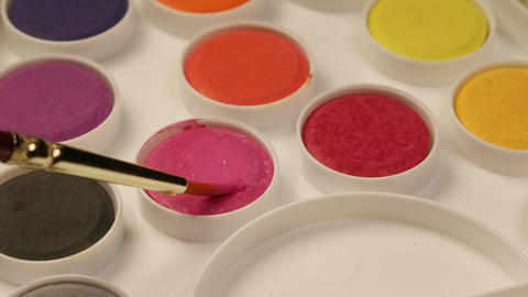Acrylic Paints Set With Fresh Paint Footage