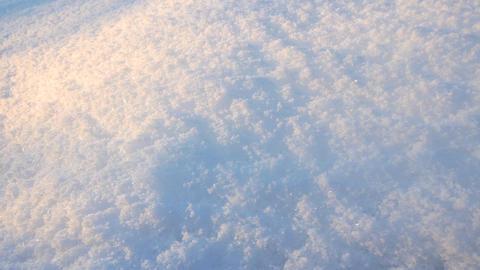 Snow closeup with sunset light. Slider Footage