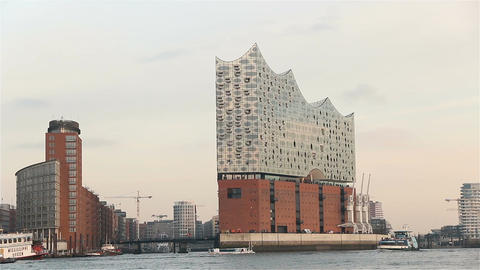 Elbphilharmonie in hamburg, germany filmed from a boat on elbe river 2016 Footage