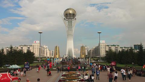 Bayterek Astana Evening 4k Zoom Out Animation