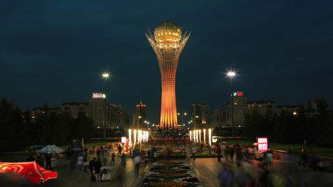 Bayterek Astana Sunset Evening Time Lapse 4K Zoom Animation