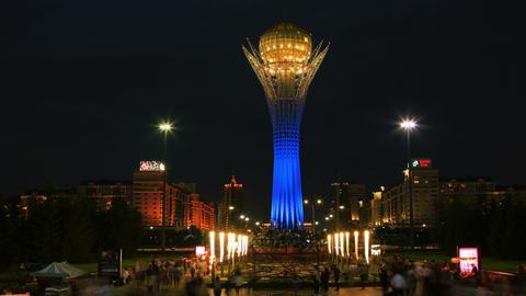 Bayterek Astana Sunset Evening Time Lapse Panorama 4K Animation