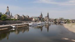 Dresden, Germany. Old town and the Elbe river Footage