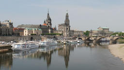 Dresden, Germany. View at the Elbe river Footage