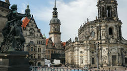 Dresden, Germany. Hofkirche (Cathedral of the Holy Trinity) and The Royal Castle Footage