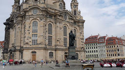The Dresden Frauenkirche - Church of Our Lady and Martin Luther statue. Germany Footage