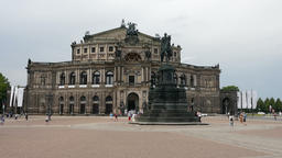Dresden Semper Opera and Statue of King John, Germany Footage