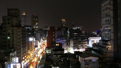 Skyline of Taipei at night, time lapse ภาพวิดีโอ