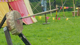 Spear, medieval weapon - training in throw to the disc. Slow motion Live Action
