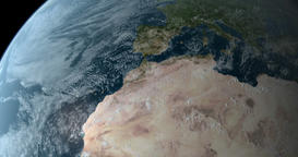 Orbiting 360 grades over north of the world 4K Animation