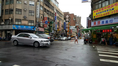 Rainy day in Taipei streets Footage