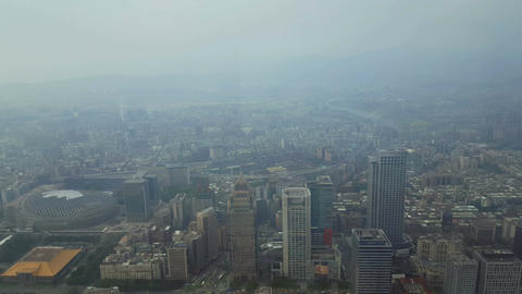 View from Taipei 101 building, World Trade Center over downtown city Footage