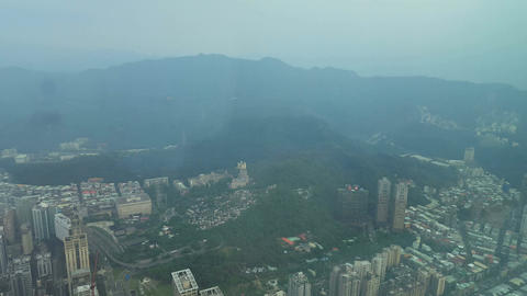 View from Taipei 101 building, World Trade Center over downtown city Live Action