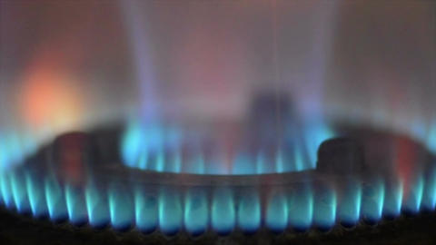 Close shot of blue flame coming out from LPG oven Footage