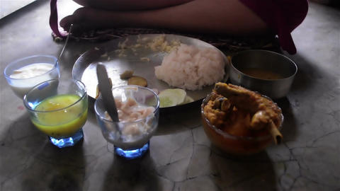 Close shot of served meal in birthday in a Bengali family.2