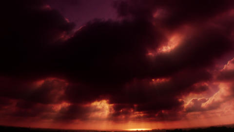 cloudy horizon red Stock Video Footage