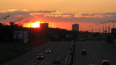 sunset traffic time lapse 3 Stock Video Footage