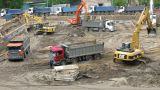 Excavators stock footage