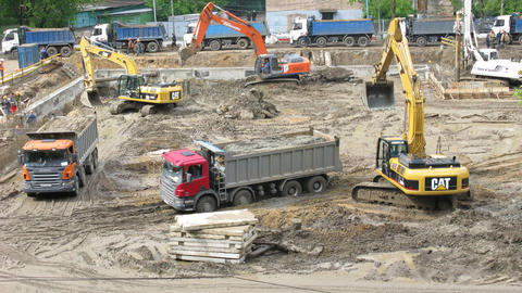 excavators Stock Video Footage