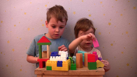 children play toy brick Footage