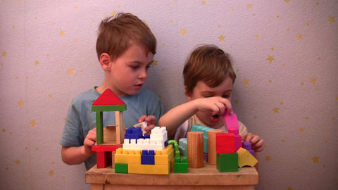 children play toy brick Stock Video Footage