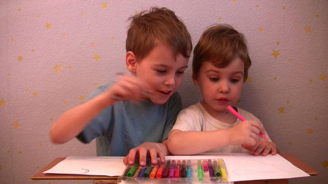 children drawing Stock Video Footage