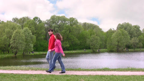 couple walk in park Stock Video Footage