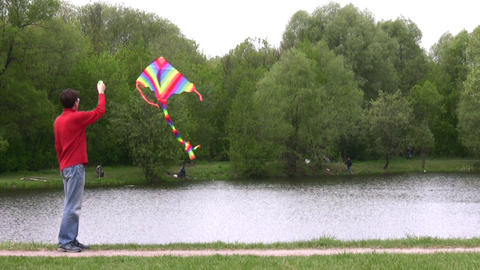 man with kite in park Stock Video Footage