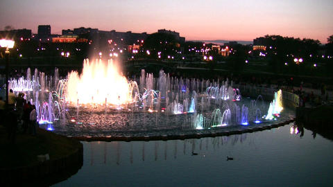evening fountain Footage
