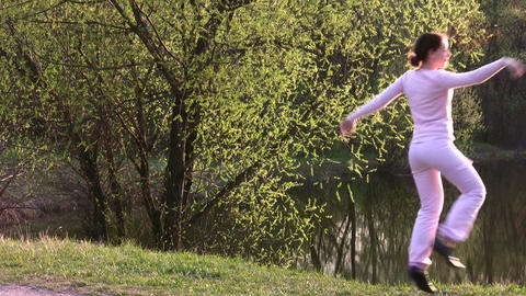 dance girl in park Stock Video Footage