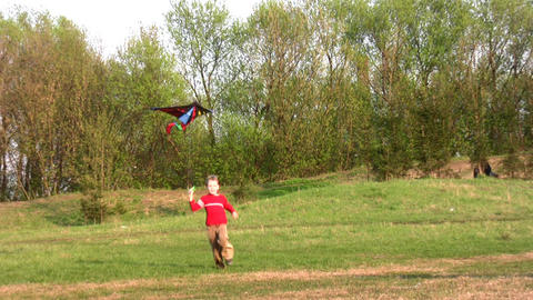 boy run with kite Stock Video Footage