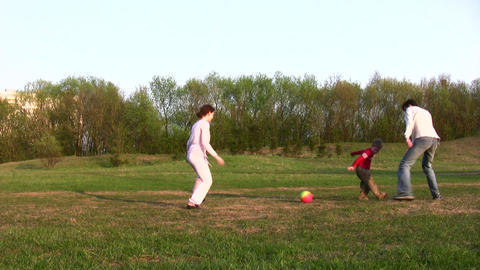 family soccer Stock Video Footage
