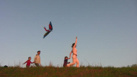 family with kite Footage