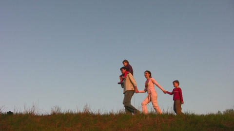 walking family Stock Video Footage