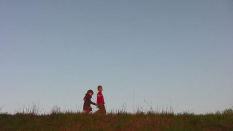 children on meadow Stock Video Footage