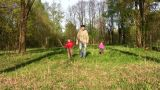 Father With Children In Park stock footage