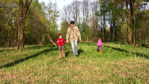 father with children in park Footage