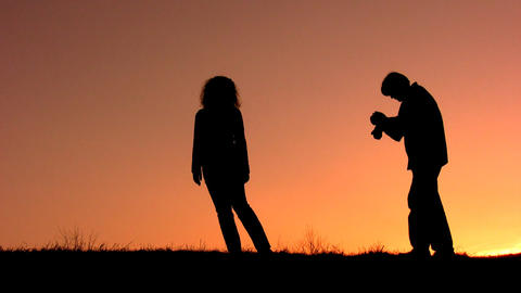 couple make photo sunset Footage