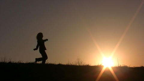 dance girl sunset Stock Video Footage