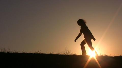walking girl Stock Video Footage