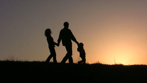 family of three sunset Footage