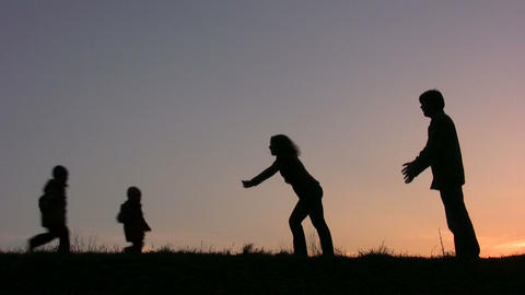 meet parents with children sunset Stock Video Footage