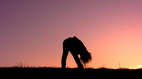 fitness girl sunset Stock Video Footage