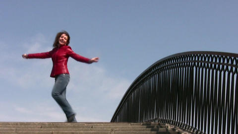 girl dance on bridge Stock Video Footage