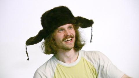 happy man in winter hat Stock Video Footage