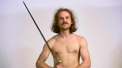 man with sword Stock Video Footage