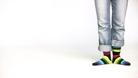 color stripe legs Stock Video Footage