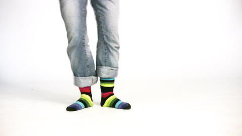 color stripe legs Stock Video Footage